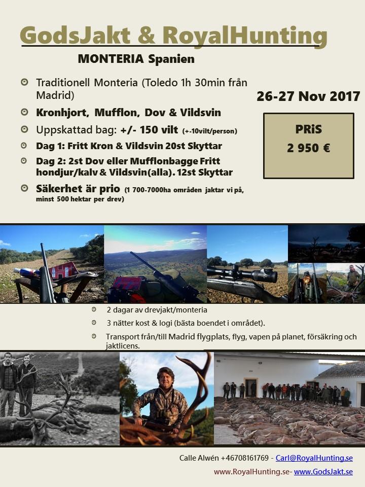 Drevjakt Monteria Spanien 26 -27 Nov 2016